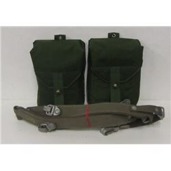 TWO MILITARY POUCHES WITH BELT AND EXTRA HARNESS