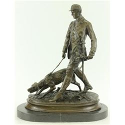 Unique Bronze Marble Statue Fox Hunt Club Scent Hound Dog Hunter Christmas