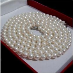 Stunning Aaa 7-8mm South Sea White Pearl Necklace 20 Inch 14k Gold Clasp