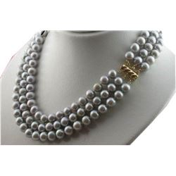 3 Rows Aaa 9-10mm South Sea Gray Pearl Necklace 18 Inch 14k Gold Clasp
