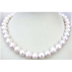 Huge Aaa 12-13mm South Sea White Pearl Necklace 18 Inch 14k Gold Clasp