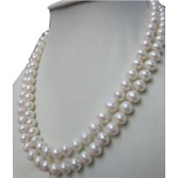 "Double Strands 12-11 Mm South Sea Natural White Pearl Necklace 14k 18"" 19"