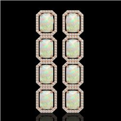 12.99 CTW Opal & Diamond Halo Earrings 10K Rose Gold - REF-203T3M - 41586