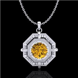 0.75 CTW Intense Fancy Yellow Diamond Art Deco Stud Necklace 18K White Gold - REF-153T6M - 37462