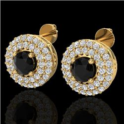 1.40 CTW Micro VS/SI Diamond Designer Earrings 18K Yellow Gold - REF-84T9M - 20192
