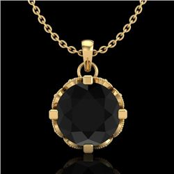 1.5 CTW Fancy Black Diamond Solitaire Art Deco Stud Necklace 18K Yellow Gold - REF-89Y3K - 37382