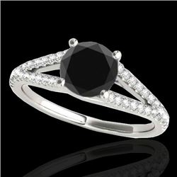 1.75 CTW Certified VS Black Diamond Solitaire Ring 10K White Gold - REF-64Y8K - 35310