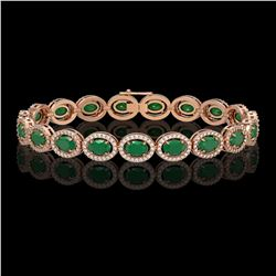 15.2 CTW Emerald & Diamond Halo Bracelet 10K Rose Gold - REF-255Y3K - 40452