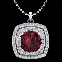 2.27 CTW Garnet & Micro Pave VS/SI Diamond Halo Necklace 18K White Gold - REF-63X3T - 20457