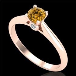 0.4 CTW Intense Fancy Yellow Diamond Engagement Art Deco Ring 18K Rose Gold - REF-80N2Y - 38184