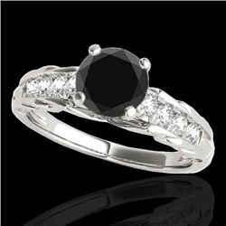 1.2 CTW Certified VS Black Diamond Solitaire Ring 10K White Gold - REF-58T2M - 34937
