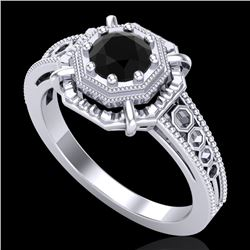0.53 CTW Fancy Black Diamond Solitaire Engagement Art Deco Ring 18K White Gold - REF-81A8X - 37436