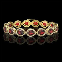 17.45 CTW Garnet & Diamond Halo Bracelet 10K Yellow Gold - REF-283H5A - 41281