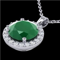2 CTW Emerald & Halo VS/SI Diamond Micro Pave Necklace Solitaire 18K White Gold - REF-49H3A - 21560