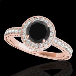 1.51 CTW Certified VS Black Diamond Solitaire Halo Ring 10K Rose Gold - REF-74Y8K - 34305