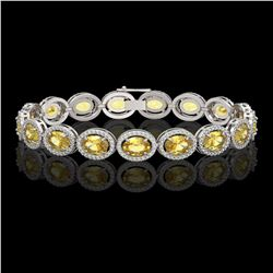 20.36 CTW Fancy Citrine & Diamond Halo Bracelet 10K White Gold - REF-246F8N - 40643