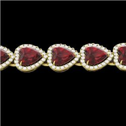 25 CTW Garnet & Micro Pave VS/SI Diamond Bracelet Heart Halo 14K Yellow Gold - REF-376M8H - 22617