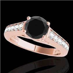 1.5 CTW Certified VS Black Diamond Solitaire Ring 10K Rose Gold - REF-72F2N - 34902