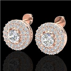 1.20 CTW Micro Pave VS/SI Diamond Earrings 14K Rose Gold - REF-104X5T - 20196