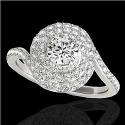 2.11 CTW H-SI/I Certified Diamond Solitaire Halo Ring 10K White Gold - REF-290F9N - 34513