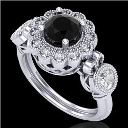 1.5 CTW Fancy Black Diamond Solitaire Art Deco 3 Stone Ring 18K White Gold - REF-170M2H - 37849