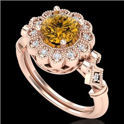 1.2 CTW Intense Fancy Yellow Diamond Engagement Art Deco Ring 18K Rose Gold - REF-290W9F - 37834