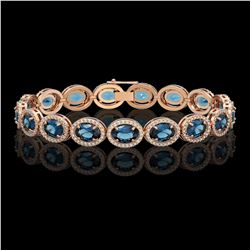 24.32 CTW London Topaz & Diamond Halo Bracelet 10K Rose Gold - REF-256T8M - 40638