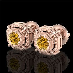 1.11 CTW Intense Fancy Yellow Diamond Art Deco Stud Earrings 18K Rose Gold - REF-158H2A - 37456