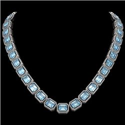 80.98 CTW Aquamarine & Diamond Halo Necklace 10K White Gold - REF-1317A3X - 41498