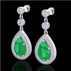 6 CTW Emerald & Micro Pave VS/SI Diamond Earrings Designer 18K White Gold - REF-93K8W - 23115