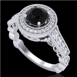 1.12 CTW Fancy Black Diamond Solitaire Engagement Art Deco Ring 18K White Gold - REF-125X5T - 37688