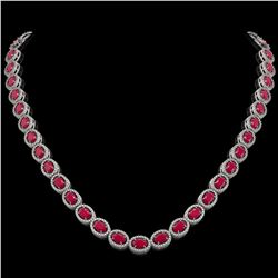 34.11 CTW Ruby & Diamond Halo Necklace 10K White Gold - REF-562H9A - 40403