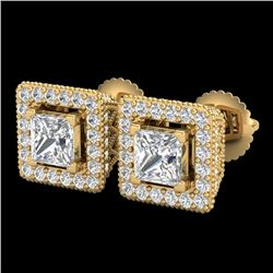 2.25 CTW Princess VS/SI Diamond Micro Pave Stud Earrings 18K Yellow Gold - REF-272H8A - 37171