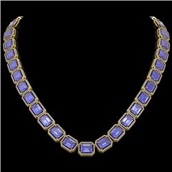 79.99 CTW Tanzanite & Diamond Halo Necklace 10K Yellow Gold - REF-1704F2N - 41485