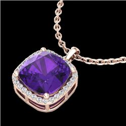 6 CTW Amethyst & Micro Pave Halo VS/SI Diamond Necklace 14K Rose Gold - REF-46N2Y - 23074