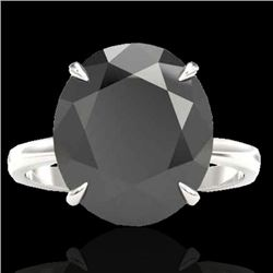 9 CTW Black VS/SI Diamond Designer Engagement Ring 18K White Gold - REF-210W4F - 22095