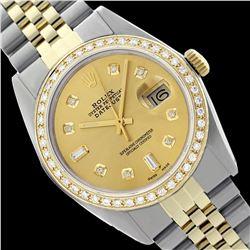 Rolex Men's Two Tone 14K Gold/SS , QuickSet, Diamond Dial & Diamond Bezel  - REF-563T6K