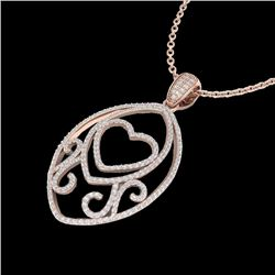 1.75 CTW Micro Pave VS/SI Diamond Designer Heart Necklace 14K Rose Gold - REF-170H5A - 22589