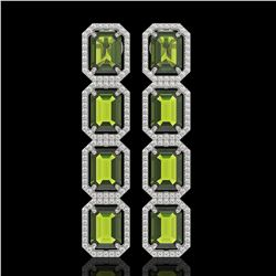 19.44 CTW Tourmaline & Diamond Halo Earrings 10K White Gold - REF-258Y9K - 41591