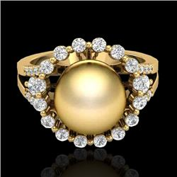 0.83 Ct Micro Pave VS/SI Diamond & Golden Pearl Halo Ring 18K Yellow Gold - REF-85A6X - 20703