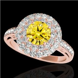 2.25 CTW Certified Si/I Fancy Intense Yellow Diamond Solitaire Halo Ring 10K Rose Gold - REF-218K2W