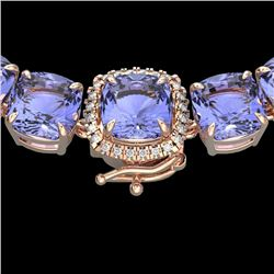 100 CTW Tanzanite & VS/SI Diamond Halo Micro Solitaire Necklace 14K Rose Gold - REF-1345M3H - 23362