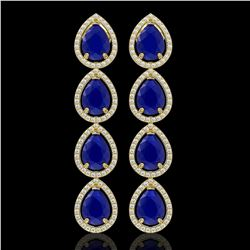 16.01 CTW Sapphire & Diamond Halo Earrings 10K Yellow Gold - REF-186F5N - 41290