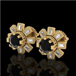 1.77 CTW Fancy Black Diamond Solitaire Art Deco Stud Earrings 18K Yellow Gold - REF-118H2A - 37865