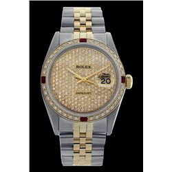 Rolex Men's Two Tone 14K Gold/SS, QuickSet, Diam Pave Dial & Diam/Ruby Bezel - REF-665K3T
