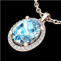 3 CTW Sky Blue Topaz & Micro Pave VS/SI Diamond Necklace Halo 14K Rose Gold - REF-43H6A - 21072