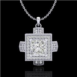1.46 CTW Princess VS/SI Diamond Solitaire Micro Pave Necklace 18K White Gold - REF-418W2F - 37193