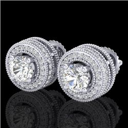 2.09 CTW VS/SI Diamond Solitaire Art Deco Stud Earrings 18K White Gold - REF-254H5A - 37139