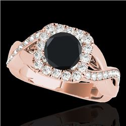 1.65 CTW Certified VS Black Diamond Solitaire Halo Ring 10K Rose Gold - REF-80F8N - 33311