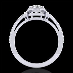 0.53 CTW VS/SI Diamond Art Deco Ring 18K White Gold - REF-136X4T - 36869